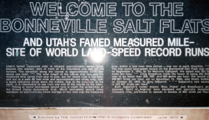 Plaque at the Bonneville Salt Flats at the Utah - Nevada border