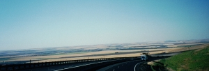 "San Joaquin Valley as seen from the top of ""The Grapevine"" - Interstate 5"